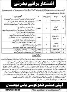 Deputy Commissioner Office Kohistan Jobs 2020