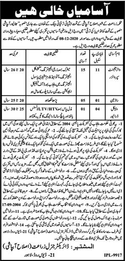 Agriculture Department Lahore Jobs 2020