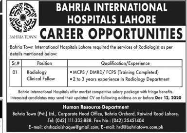 Bahria International Hospitals Jobs 2020