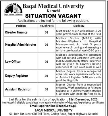 Baqai Medical University BMU Jobs 2020