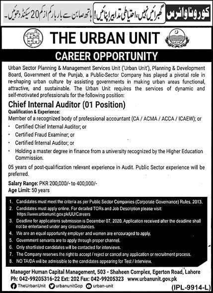 Chief Internal Auditor Jobs 2020