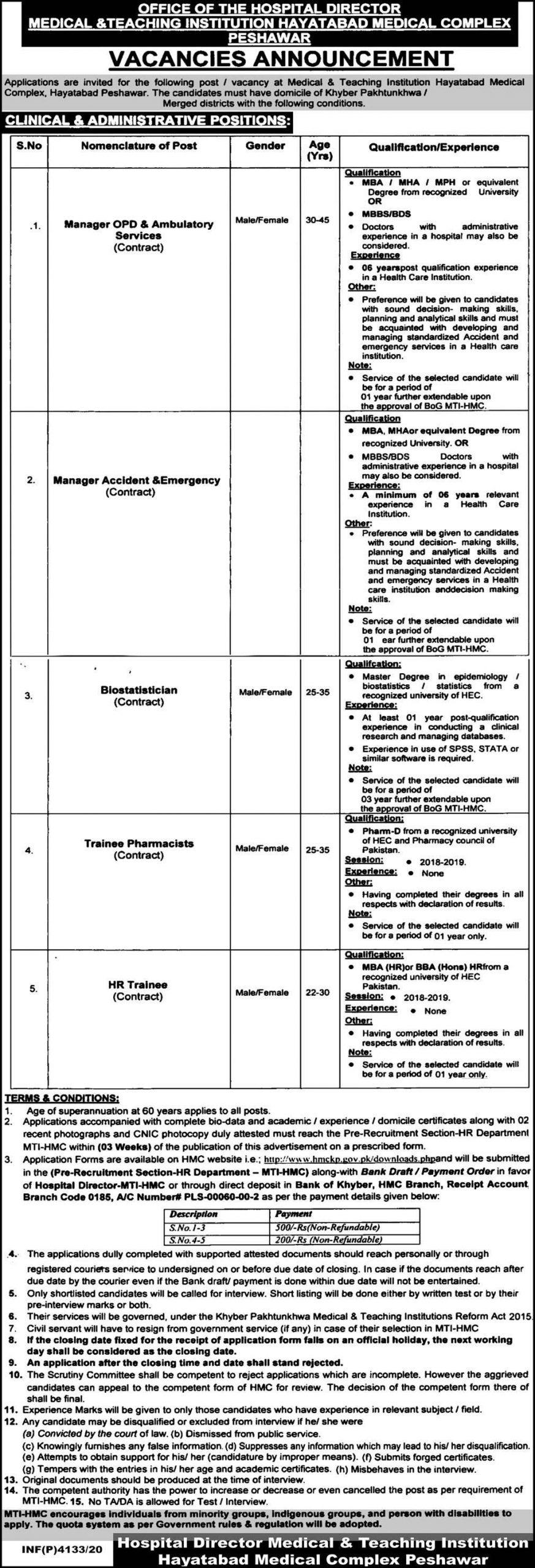 Medical Teaching Institution Peshawar Jobs 2020