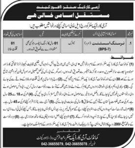 Pakistan Army Nursing Assistant Jobs 2020