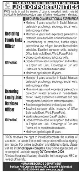 Pakistan Red Crescent Society PRCS Jobs 2020