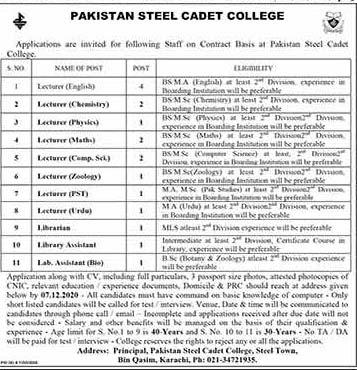 Pakistan Steel Cadet College Jobs 2020