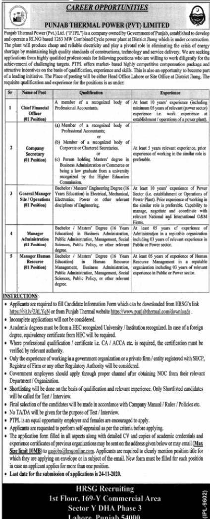 Punjab Thermal Power Jobs 2020