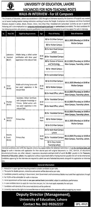 University of Education Lahore Jobs 2020