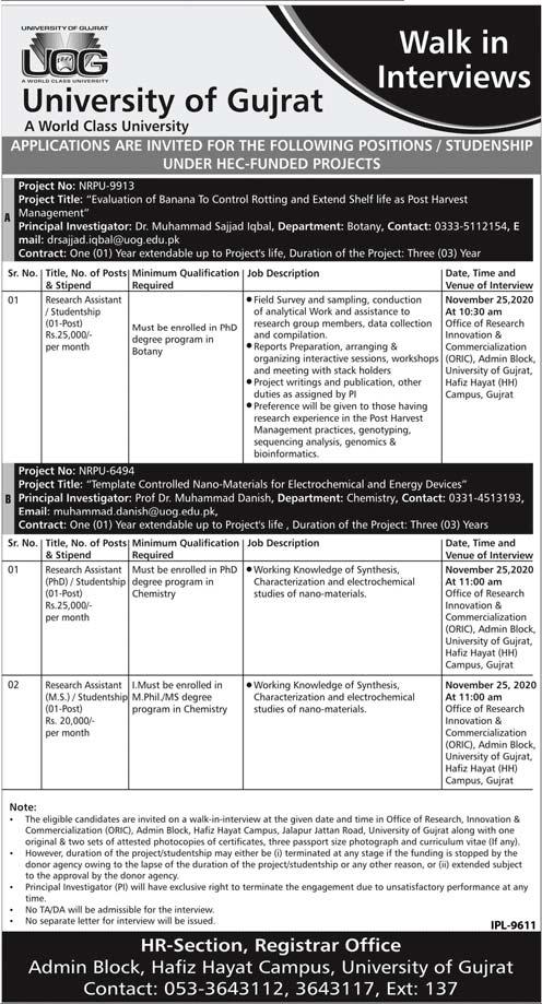 University of Gujrat UOG Jobs 2020