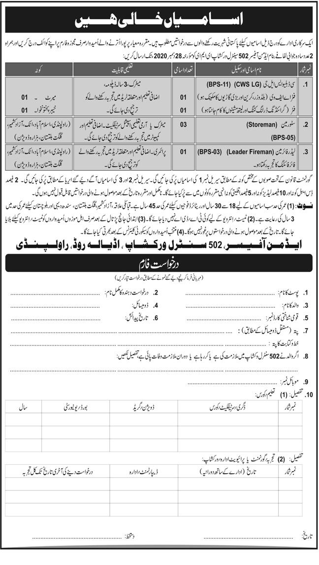 502 Central Workshop EME Rawalpindi Jobs December 2020