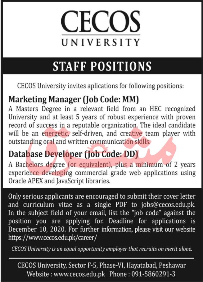 Cecos University Peshawar Jobs 2020