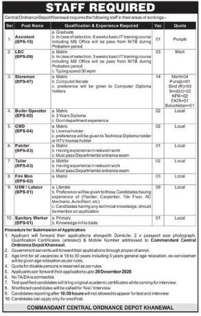 Central Ordnance Depot Khanewal Jobs December 2020