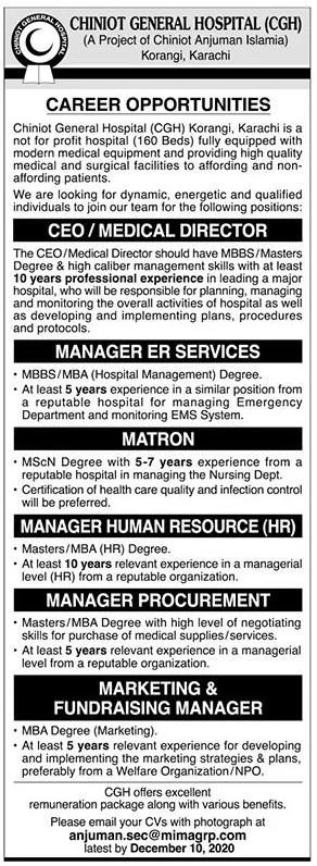 Chiniot General Hospital CGH Jobs 2020