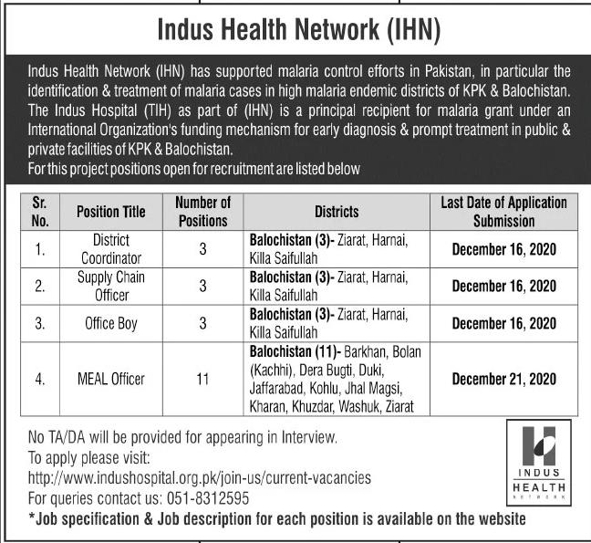 Indus Health Network IHN Jobs December 2020