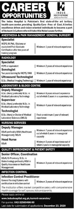 Indus Hospital Lahore Jobs December 2020