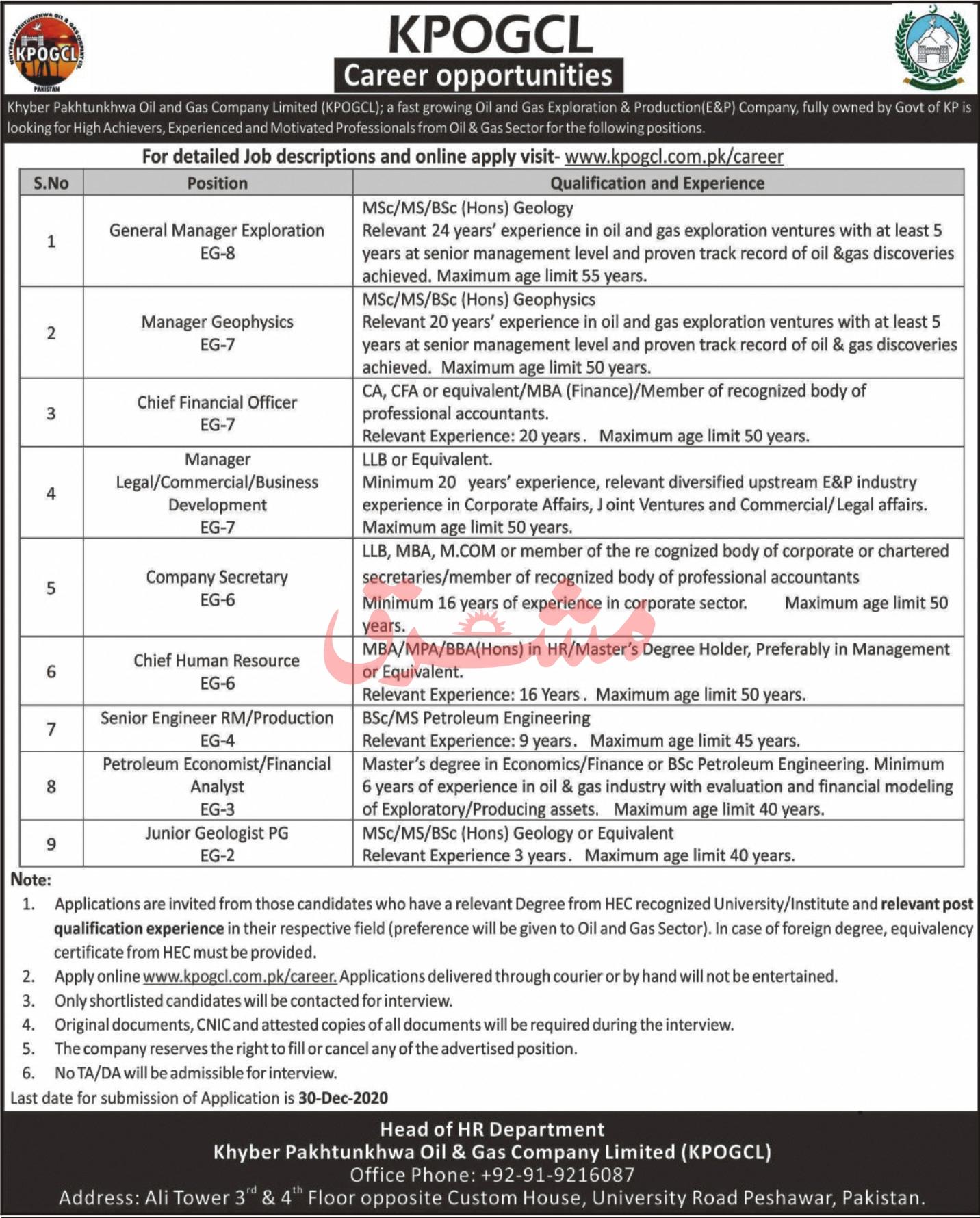 KPOGCL Jobs December 2020