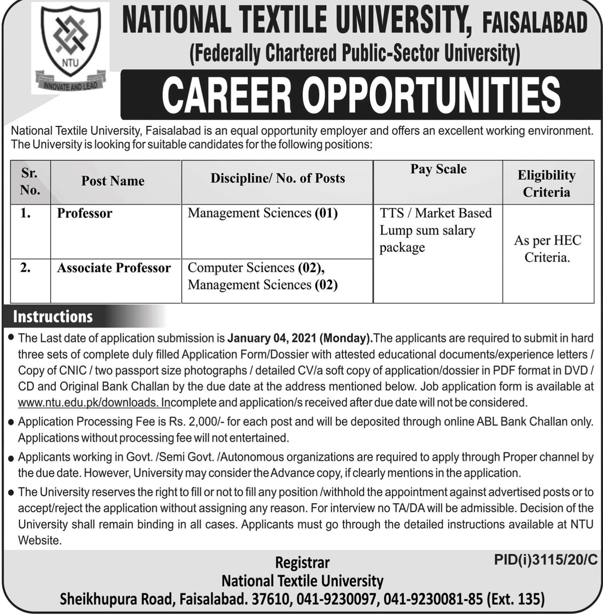 NTU Fsd Jobs December 2020