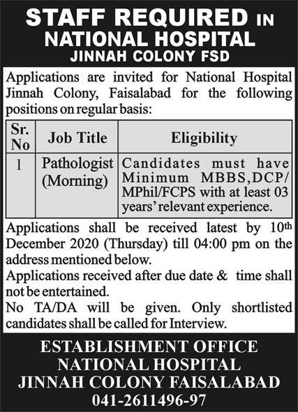 National Hospital Faisalabad Jobs 2020