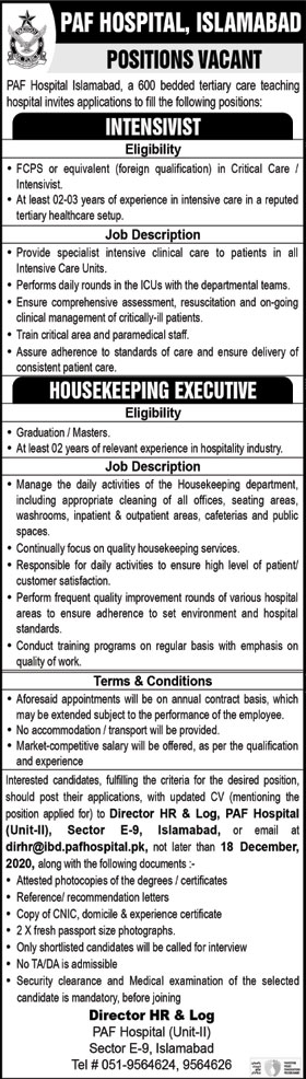 PAF Hospital Islamabad Jobs Application Form December 2020