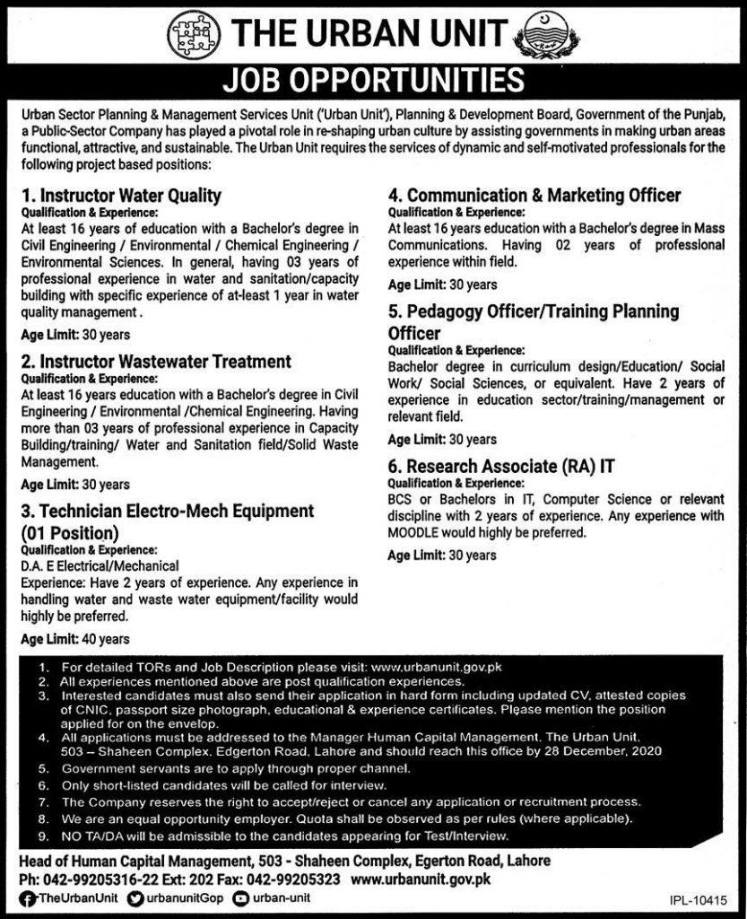 Urban Unit Lahore Jobs 2020